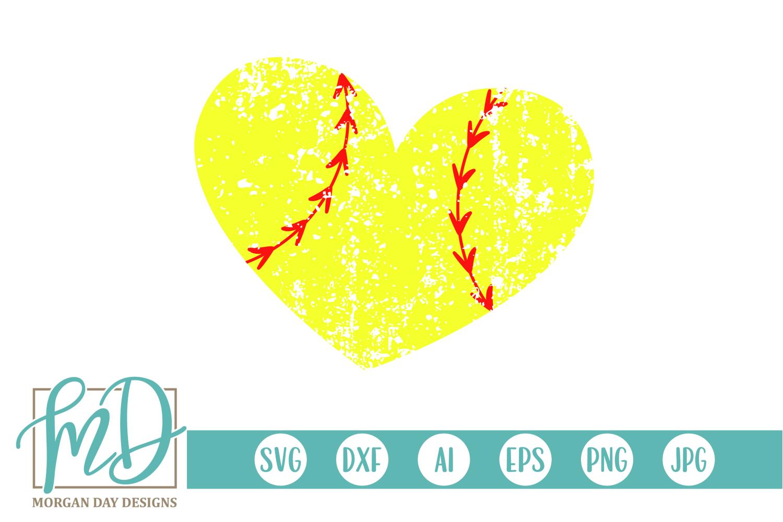 Grunge Softball Heart Svg By Morgan Day Designs Thehungryjpeg Com