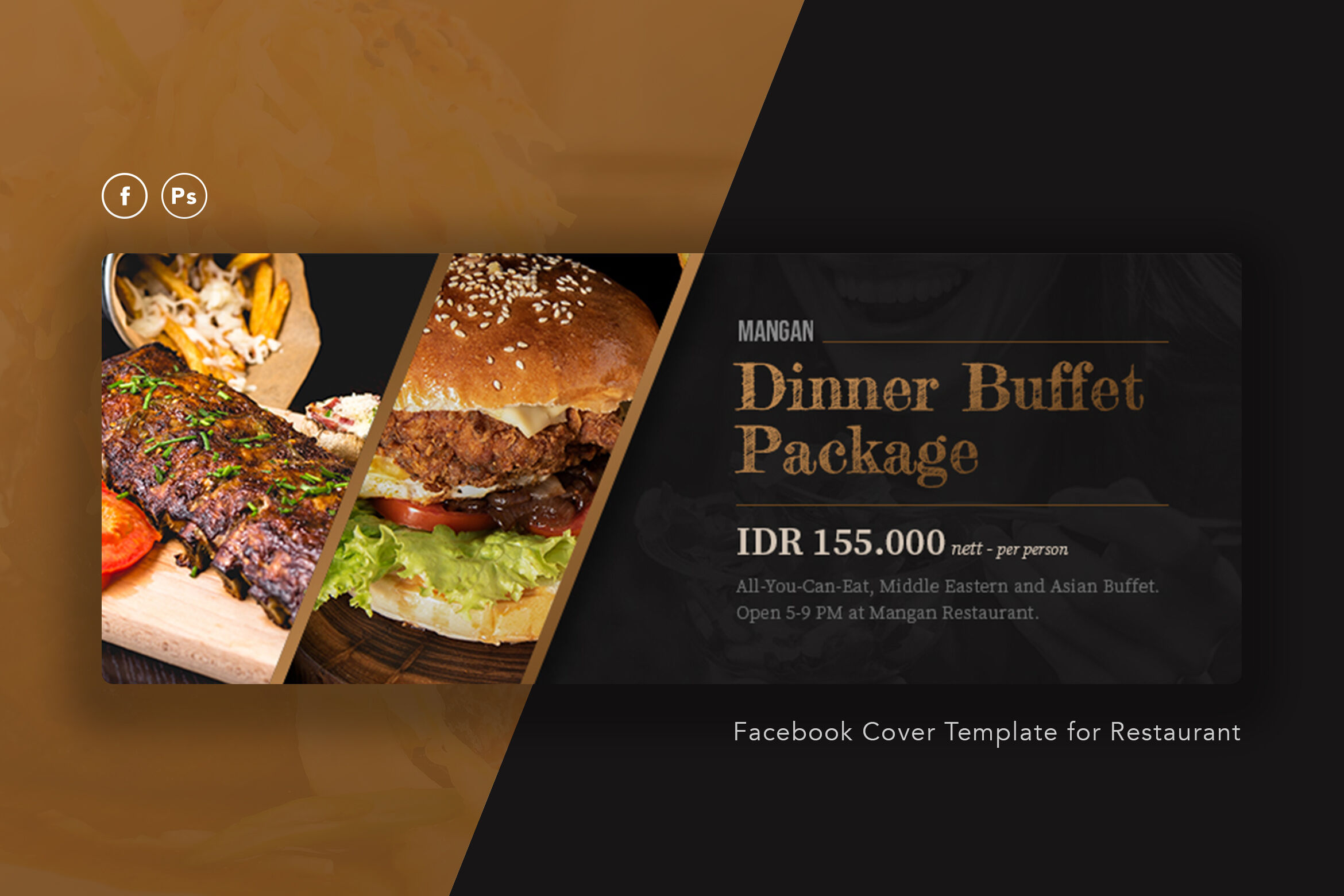 Restaurant Facebook Cover PSD Template By peterdraw