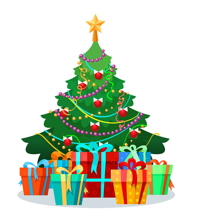 Picture Of Christmas Tree With Presents: Christmas Tree With Bulbs And Gifts By Vectortatu