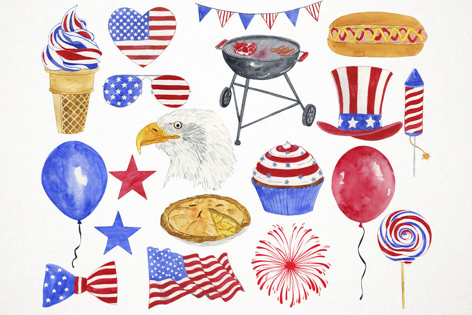Watercolor 4th Of July Clipart 4th Of July Clip Art Independence