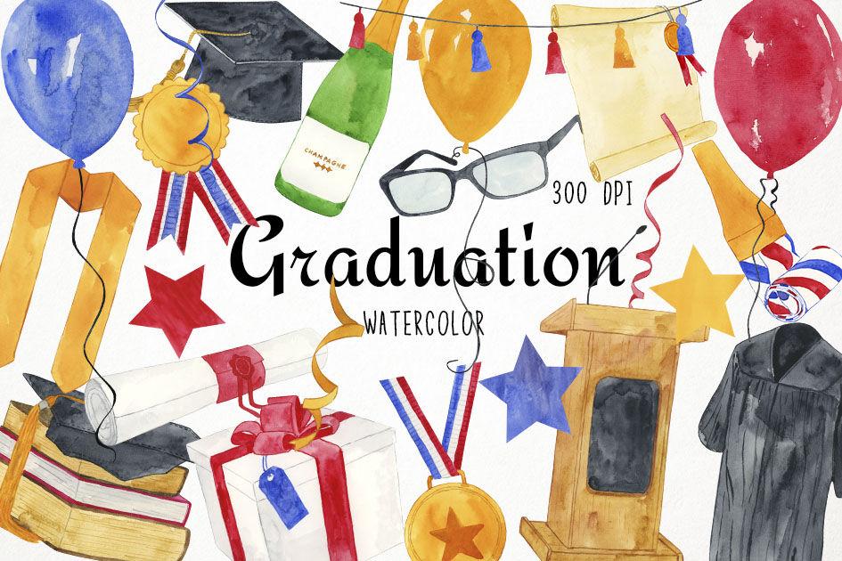 Watercolor Graduation Clipart Graduation Clip Art By Paulaparaula