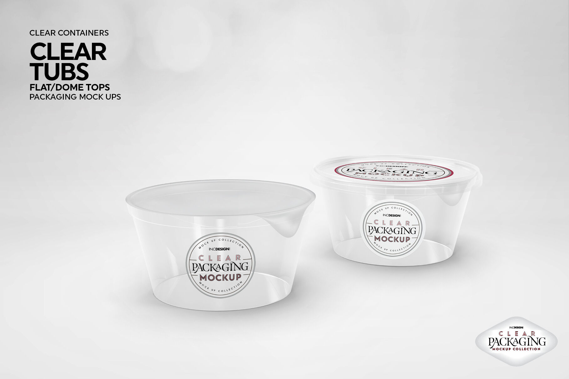 Clear Plastic Container Mockup Front View