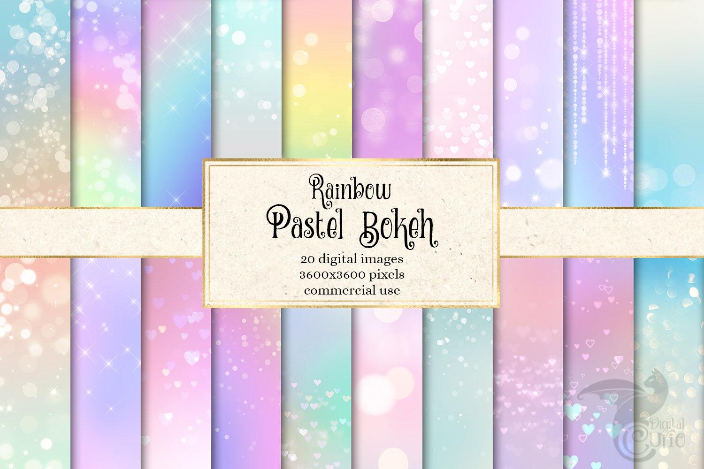 Rainbow Pastel Bokeh Digital Paper By Digital Curio
