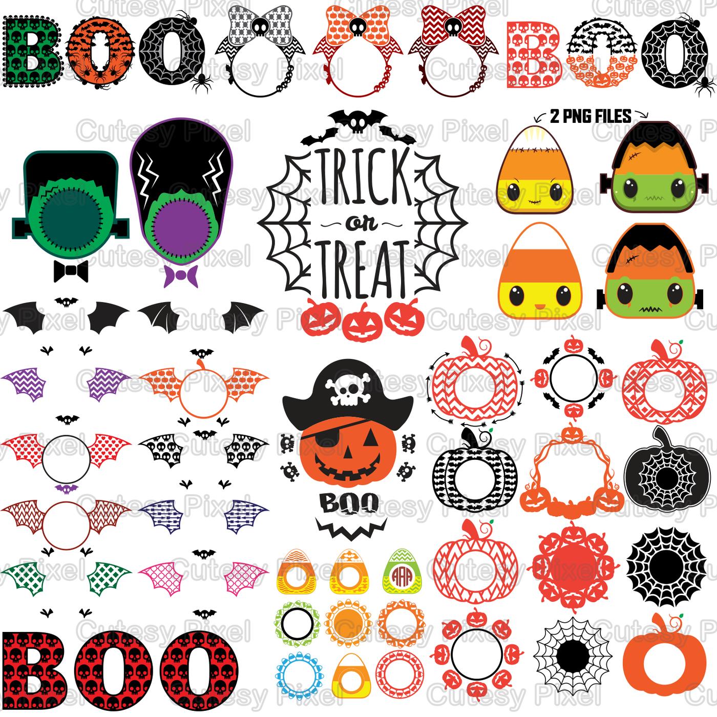 Halloween Bundle Halloween Pumpkins monogram frames svg