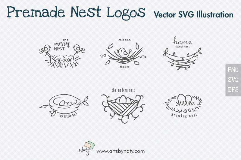 Premade Nest Logos Svg Vector Illustrations By Artsbynaty