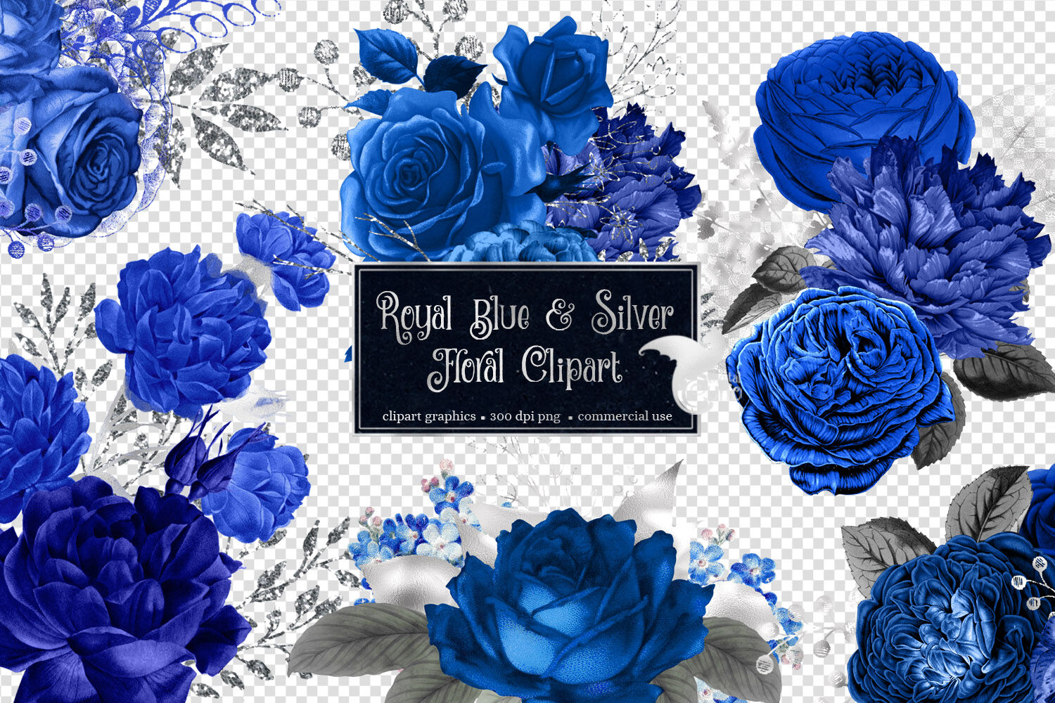 Royal blue and silver floral clipart by digital curio - Background image of div ...