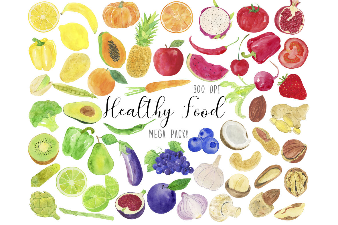 Watercolor Healthy Food Clipart Healthy Food Clip Art Fruits Clipart By Paulaparaula Thehungryjpeg Com