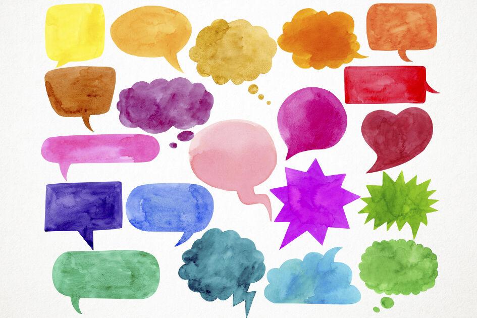 Watercolor Speech Bubbles Clipart, Speech Bubbles Clip Art By ...
