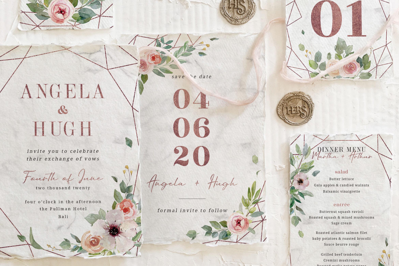 Rose Gold Geometric Wedding Suite By Bluerobindesignshop