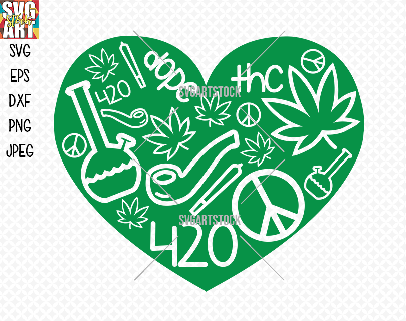 420 Weed Love By Svg Art Stock Thehungryjpeg Com