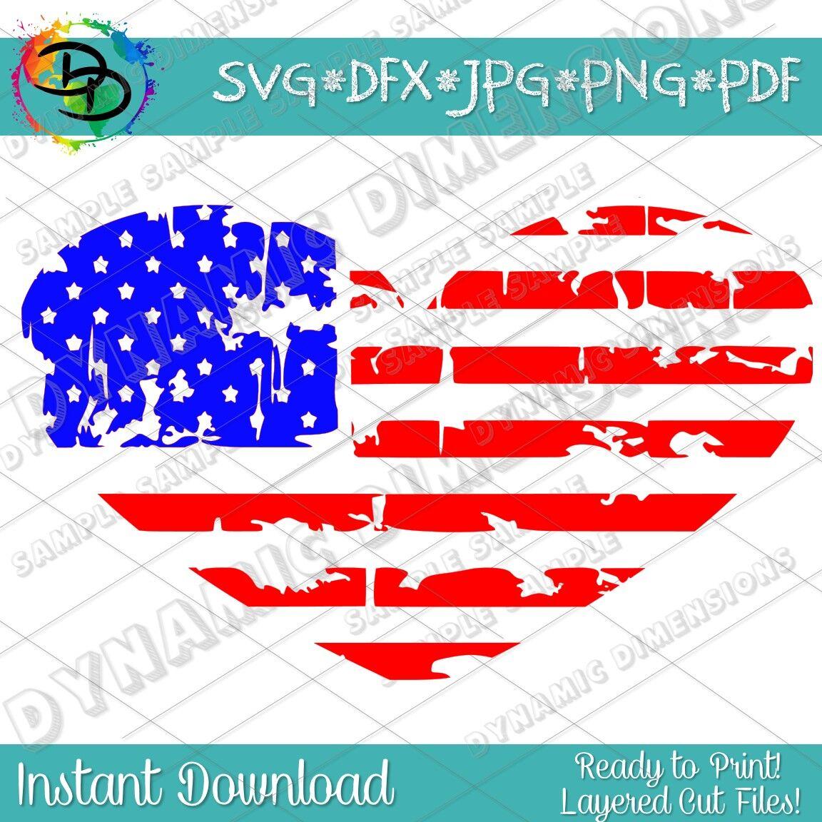 Distressed Flag Heart Svg Grunge Flag Flag Svg Merican Svg