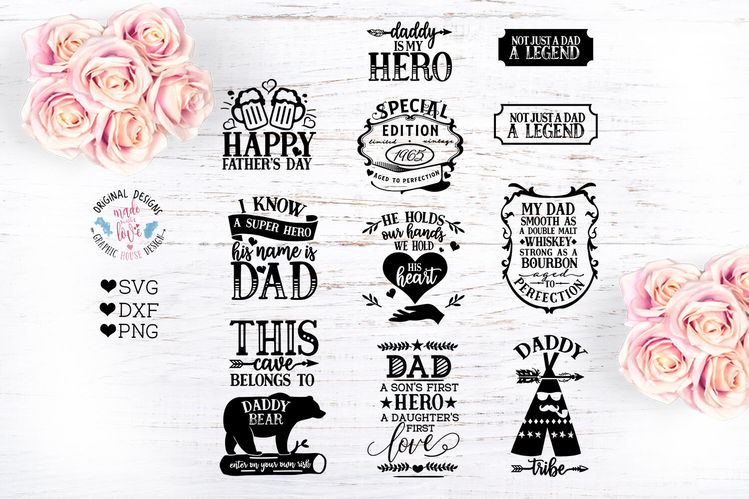 Fathers Day Cut Files Bundle By Graphichousedesign Thehungryjpeg Com