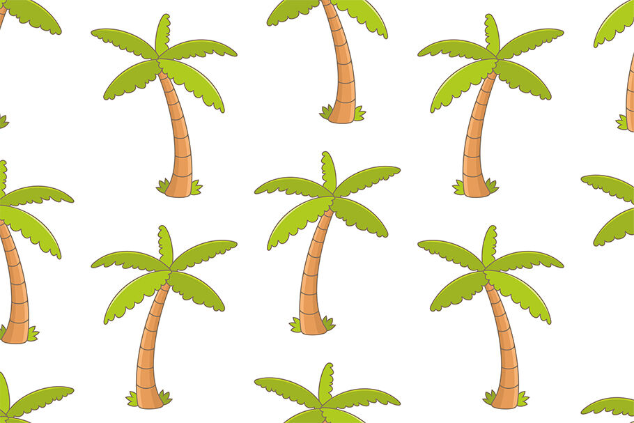 Pattern With Tropical Palm Trees By Volyk Thehungryjpeg Com