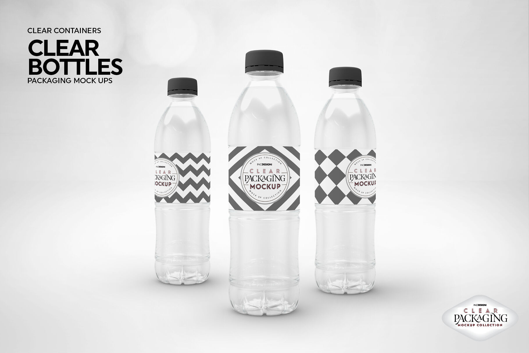 Clear Water Bottles Packaging Mockup By Inc Design Studio
