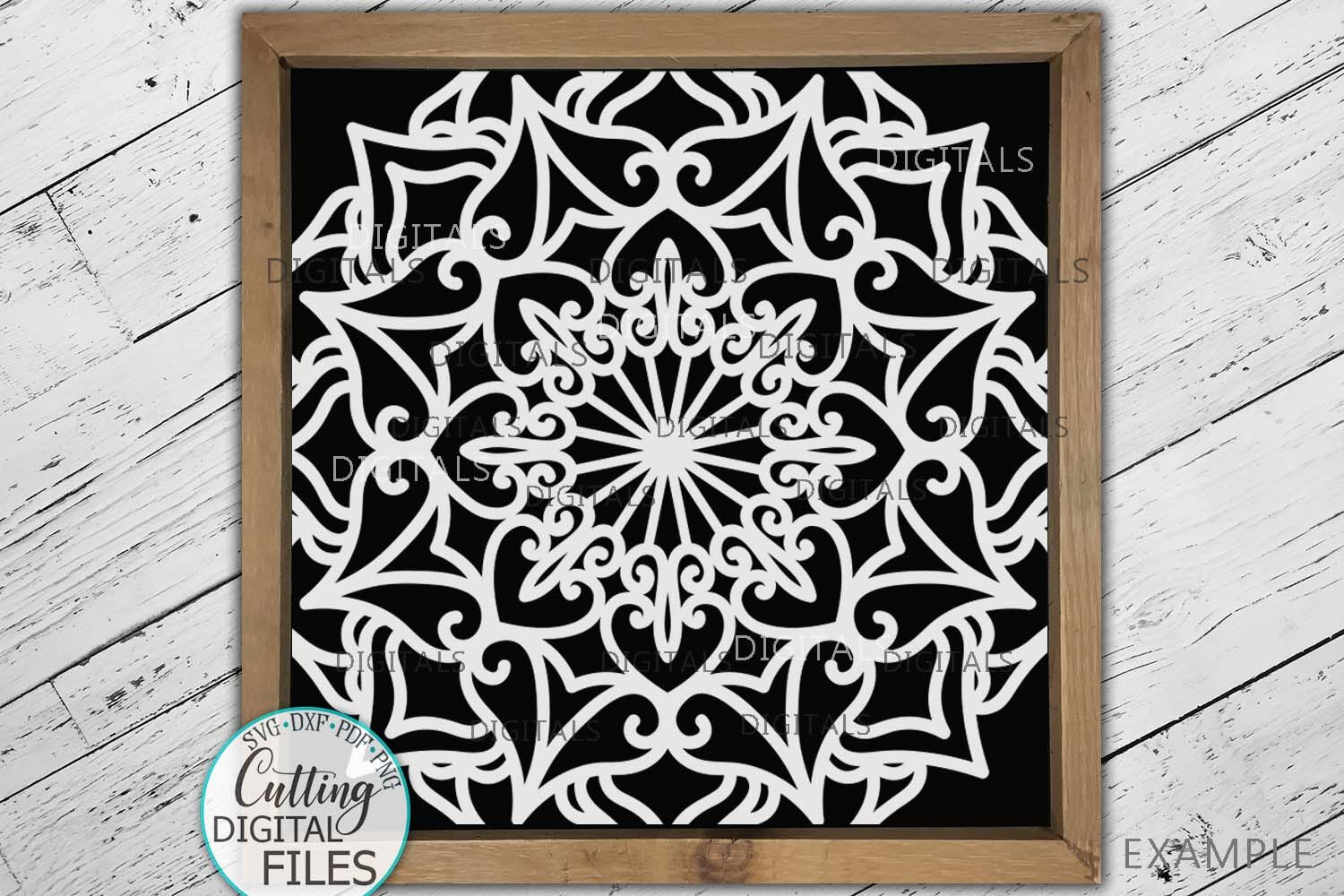 Square Mandala Sign Tile Style Home Farmhouse Svg Cut Out By