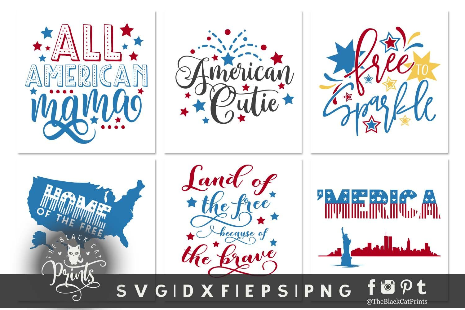 4th Of July Bundle Svg Dxf Eps Png By Theblackcatprints
