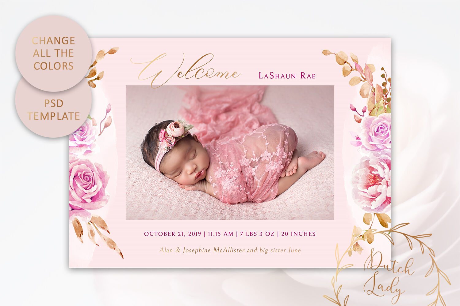 Birth Announcement Card Template 9 By The Dutch Lady Designs