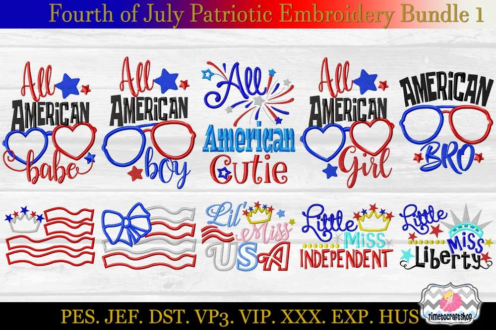 Fourth Of July Patriotic Applique Embroidery Bundle 1 Dst Exp