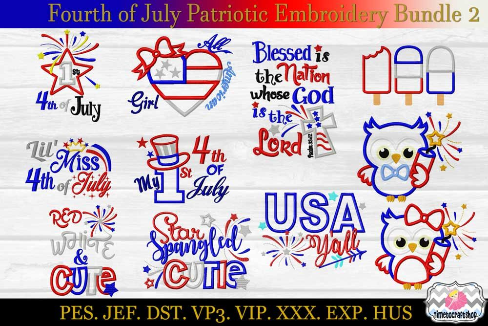 Fourth Of July Patriotic Applique Embroidery Bundle 2 Dst Exp
