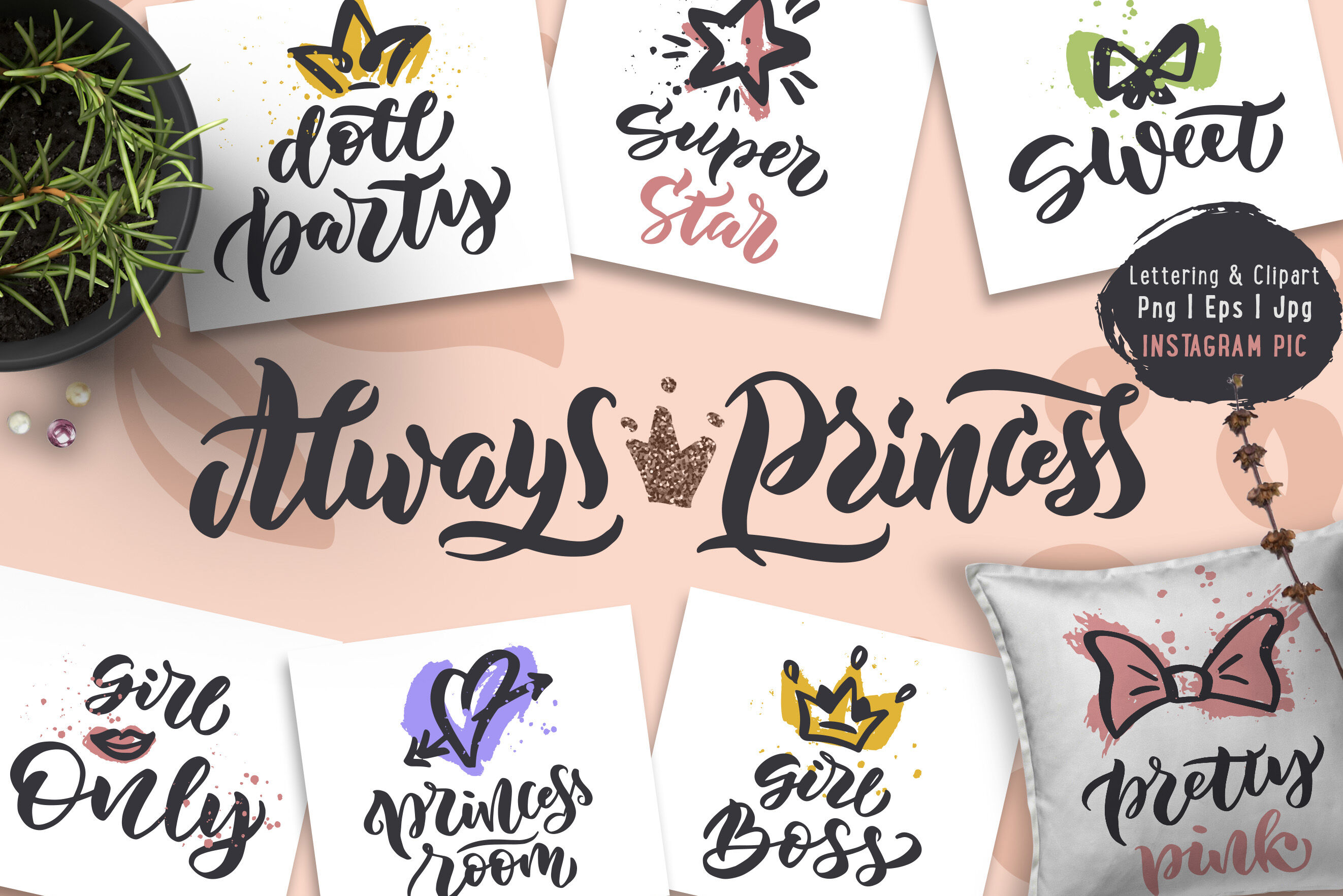 Princess Party Collection 22 Phrases By Lettering Logo