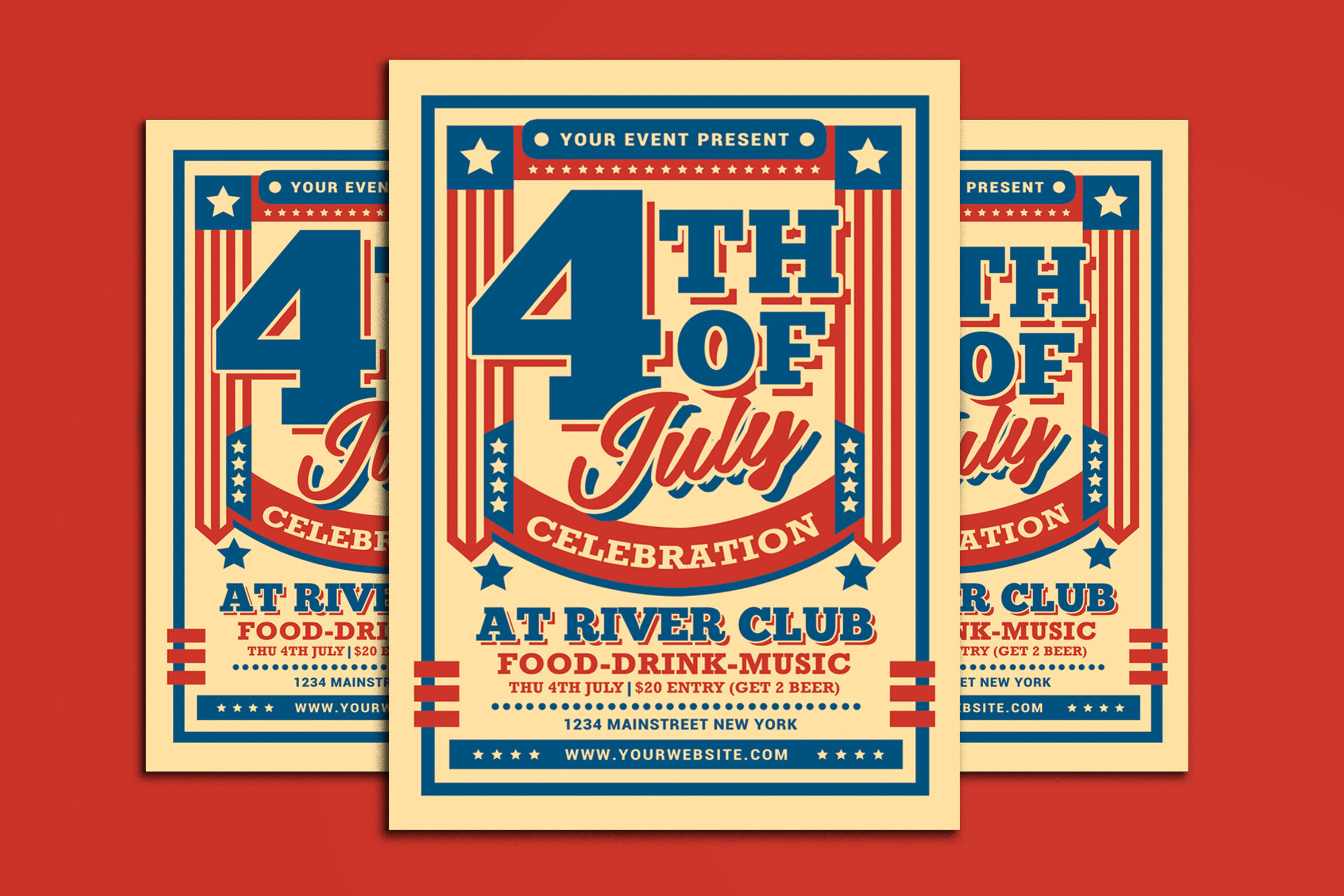 4th Of July Flyer By Muhamadiqbalhidayat Thehungryjpeg Com