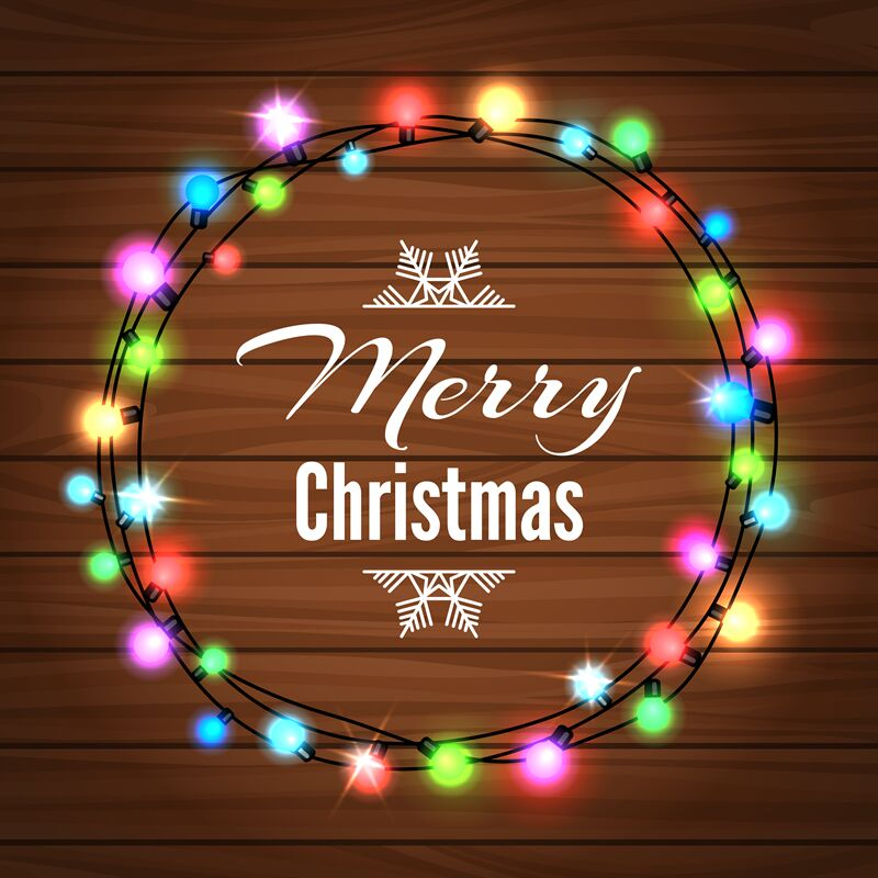Christmas Light Garland On Wood Background By Vectortatu