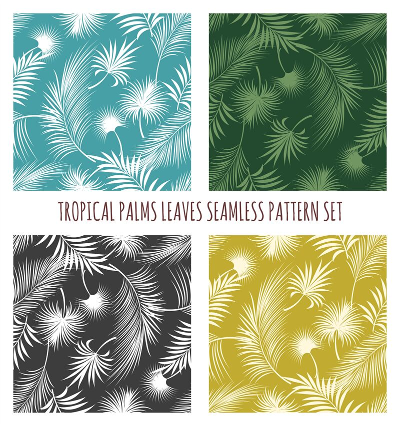 Tropical Palms Leaves Seamless Pattern Set By Vectortatu