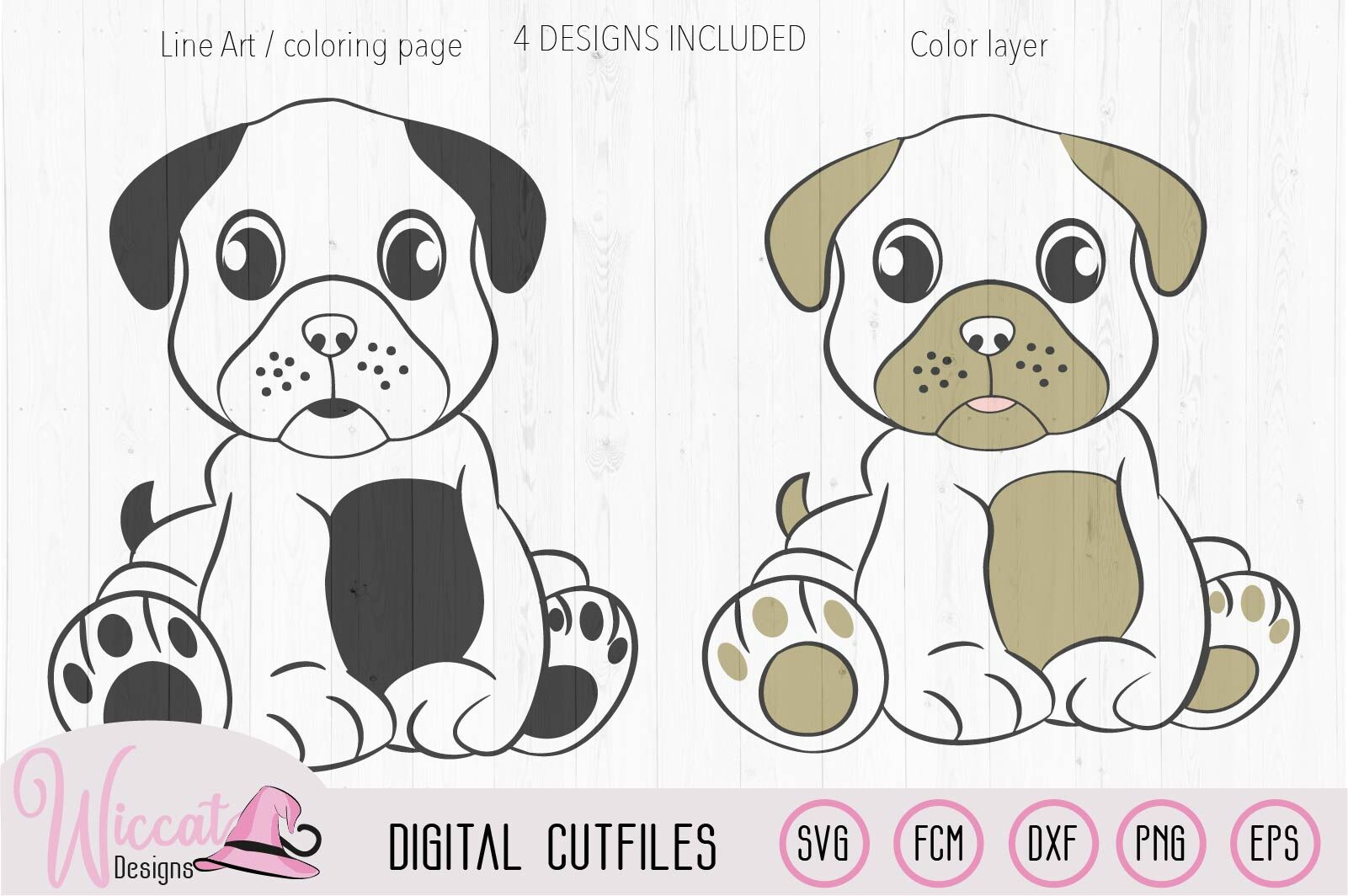 Girl Dog Pug Svg Boy Dog Pug By Wiccatdesigns Thehungryjpeg Com