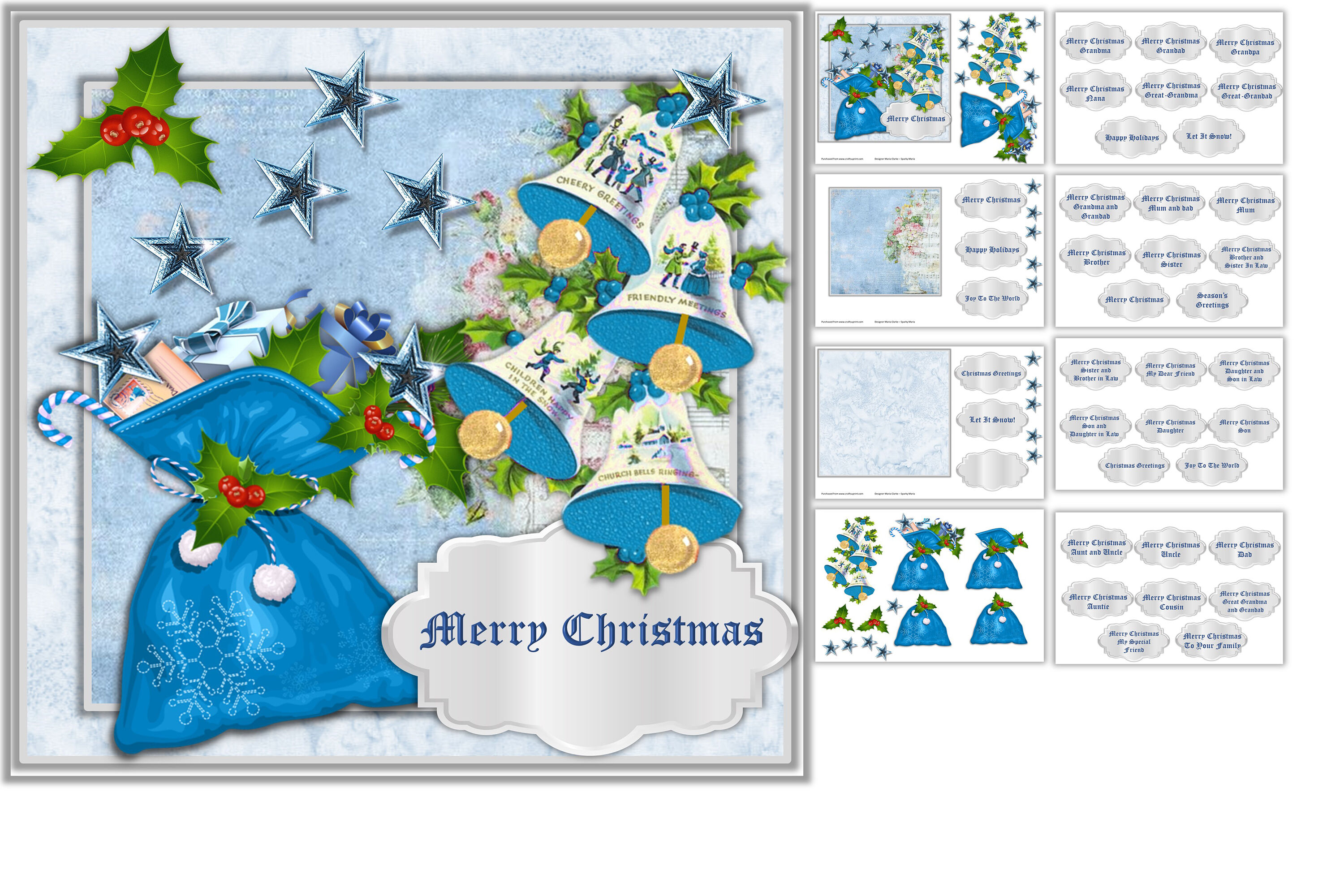 Christmas Card Making Kit Commercial Use Jpeg And Png By The Paper