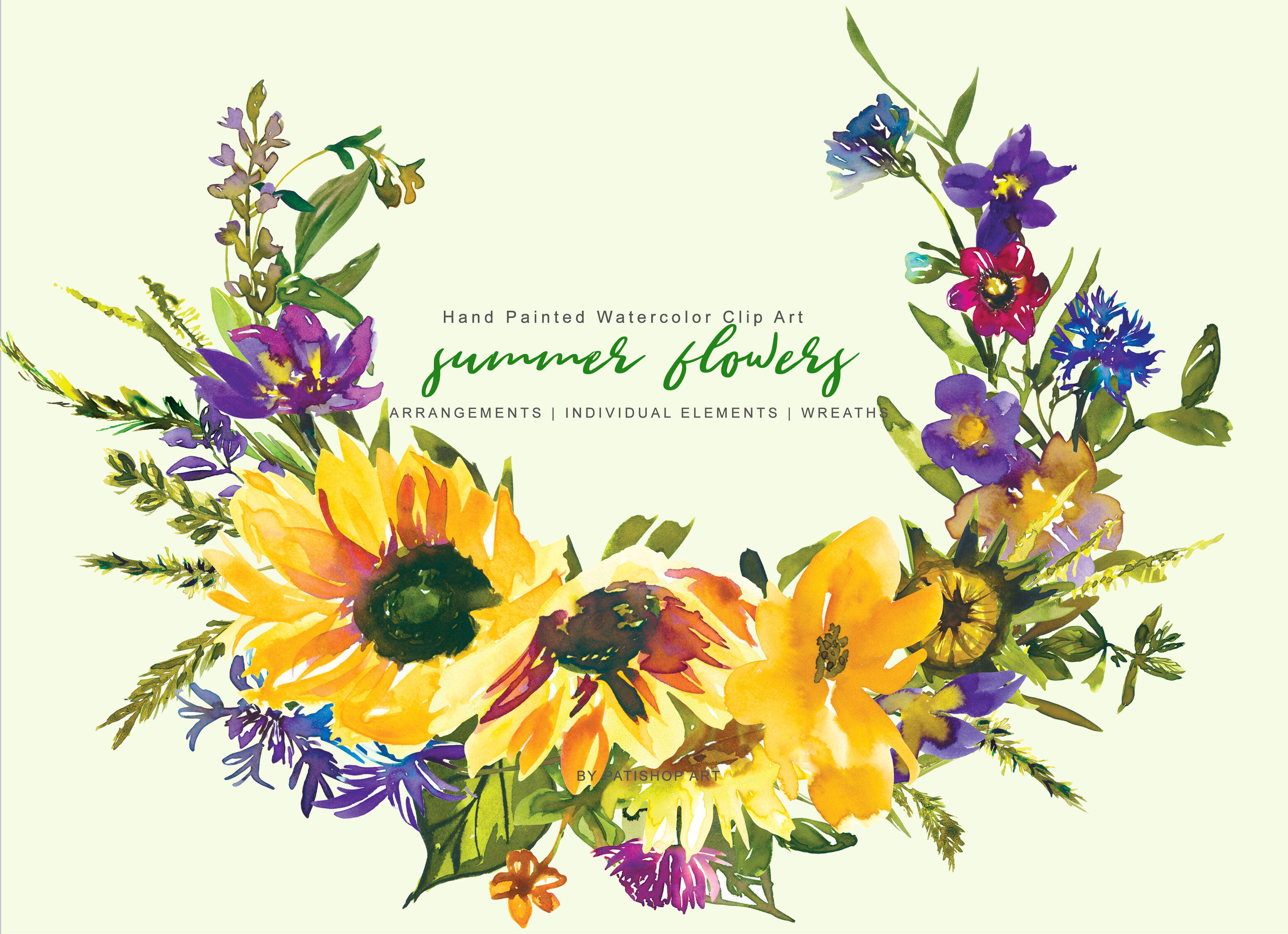 Hand Painted Watercolor Sunflower Clipart By Patishop Art ...