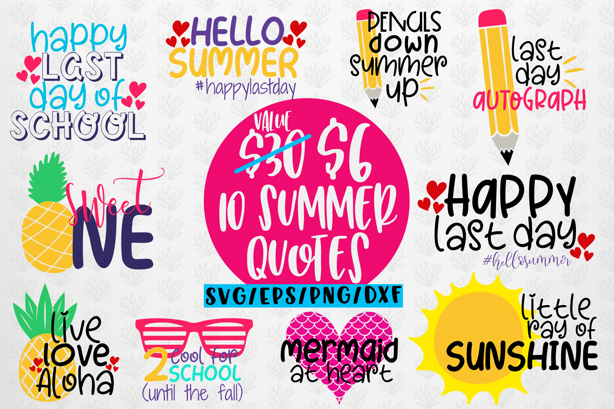 Summer Svg Bundles 10 Svg Eps Dxf Png Cut File By Coralcuts