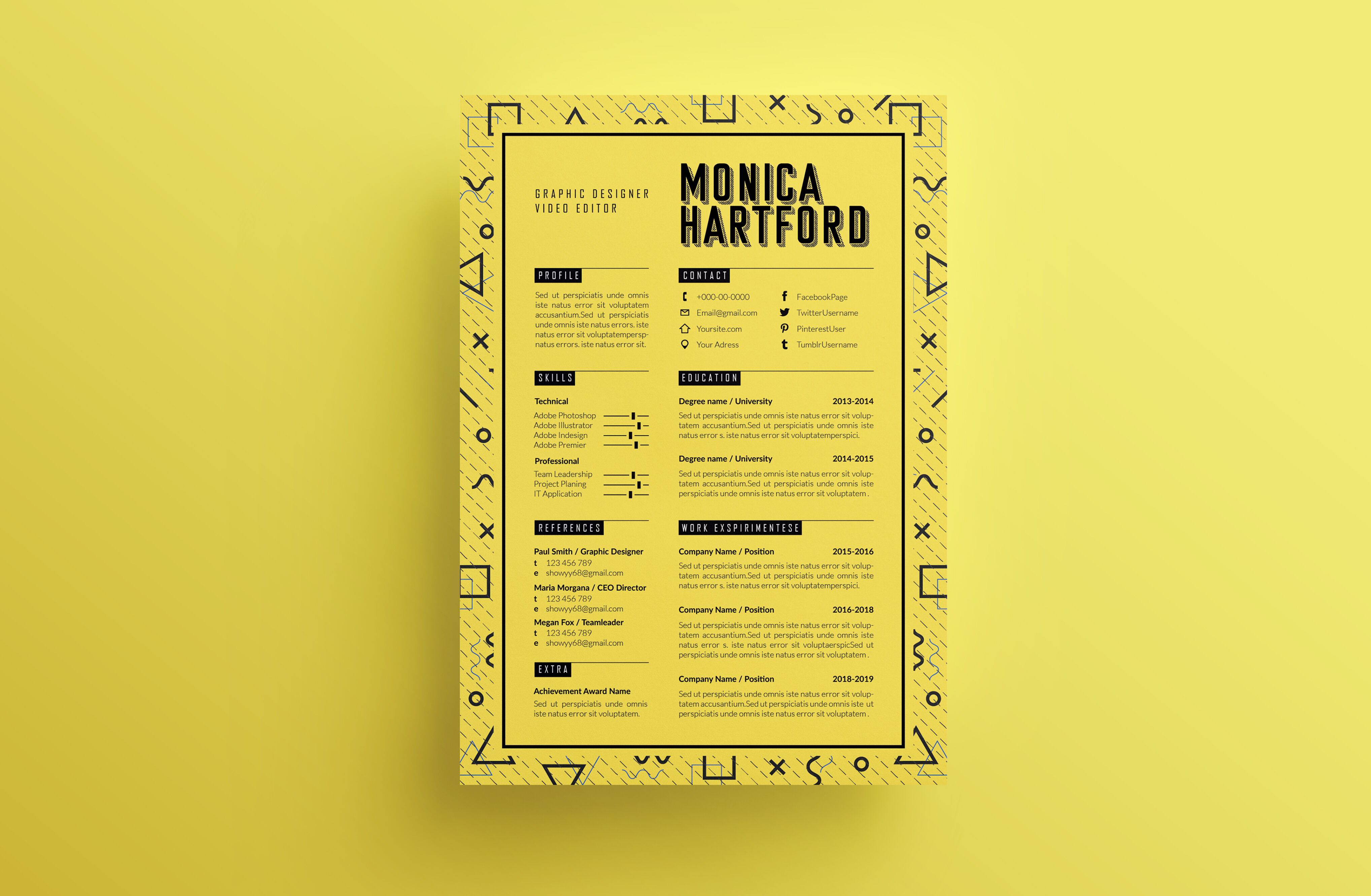 Retro Resume Template / CV template / Coverletter M By ...