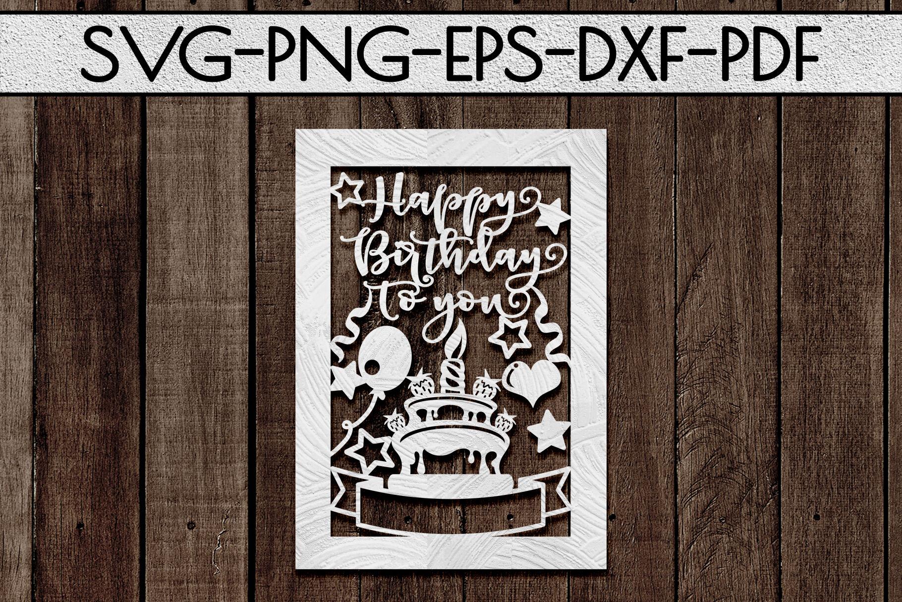 Happy Birthday Papercut Templates Bundle Laser Vector Svg Pdf