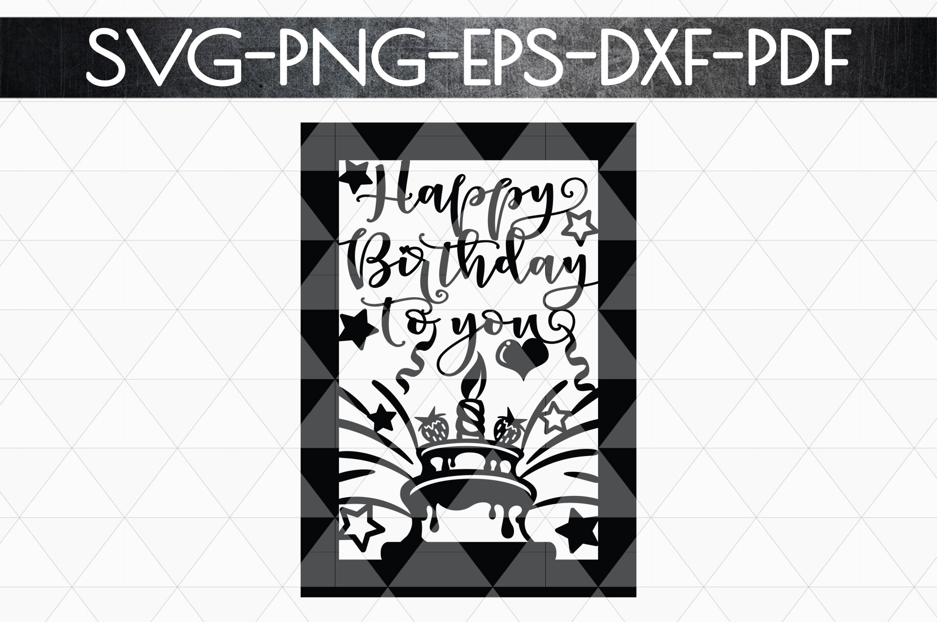 Happy Birthday Papercut Template Birthday Card Cover Svg By