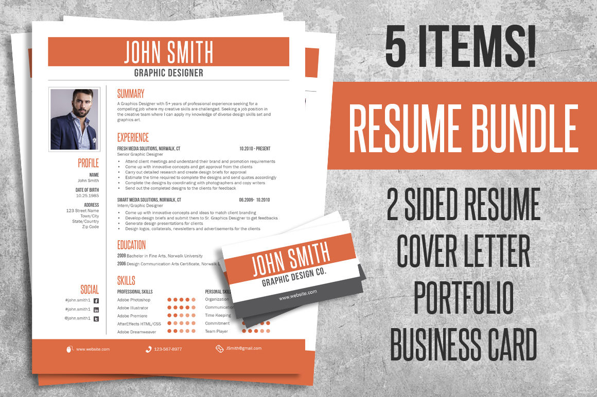 Resume Cv Bundle Cover Letter Business Card By Lucion Creative
