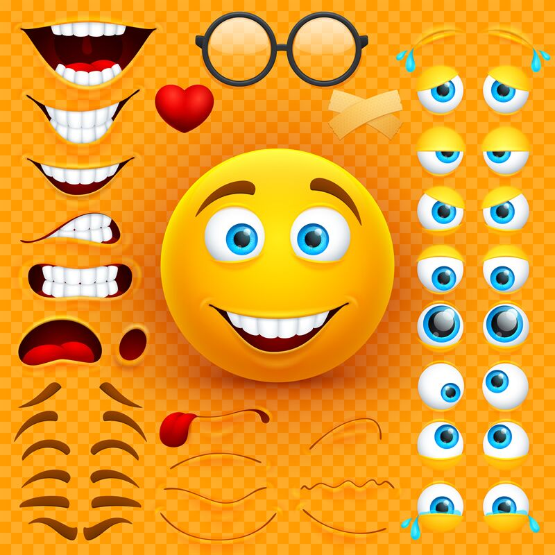 Cartoon Yellow 3d Smiley Face Vector Character Creation