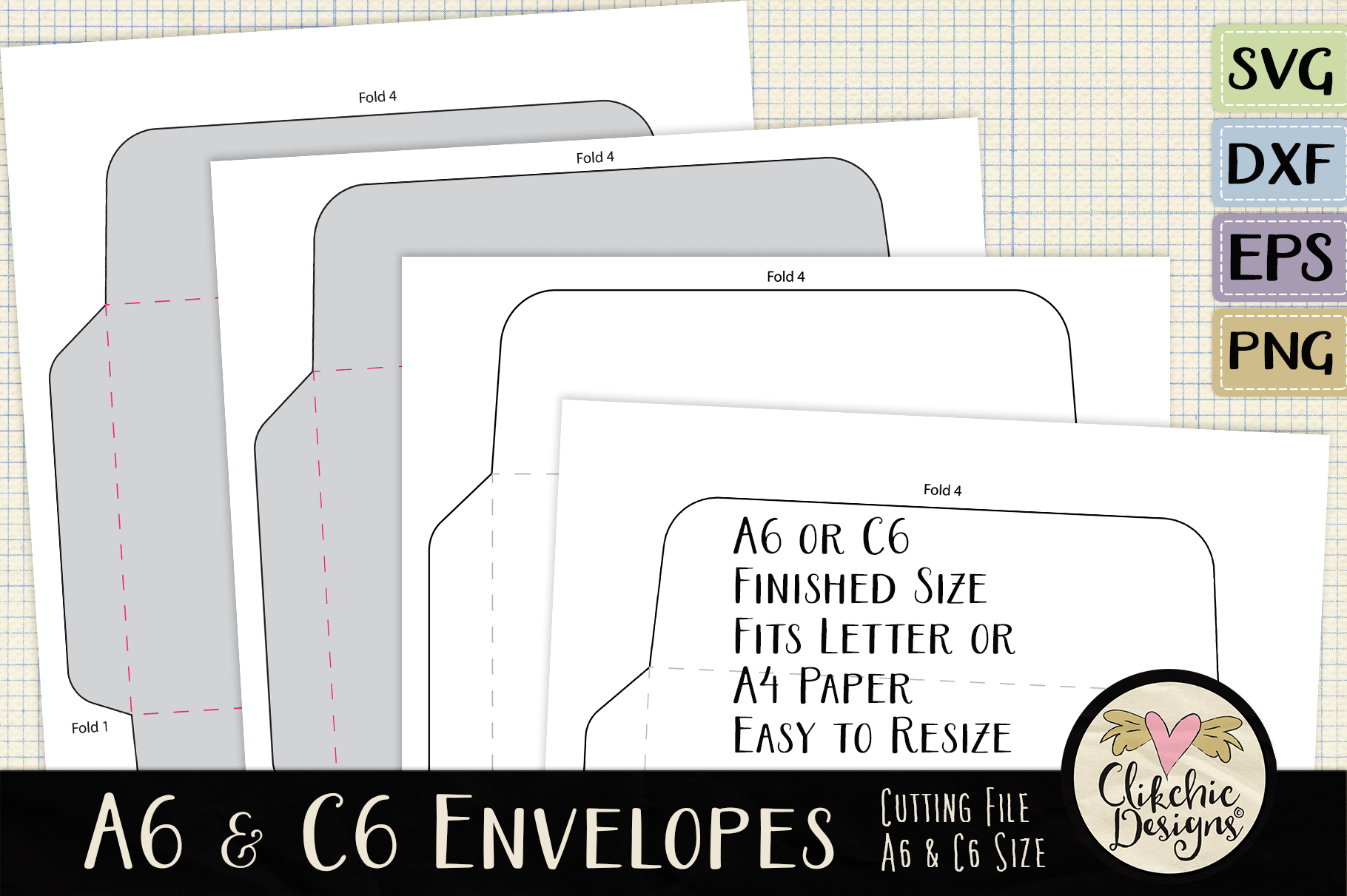 A6 C6 Svg Envelope Cutting File Template By Clikchic Designs