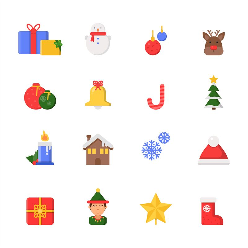 Christmas Decoration Symbols Winter North Star Tree Gifts Ribbons