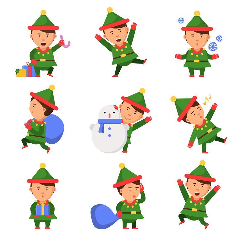 Christmas Elf Santa Helpers Dwarfs In Action Pose Vector Funny