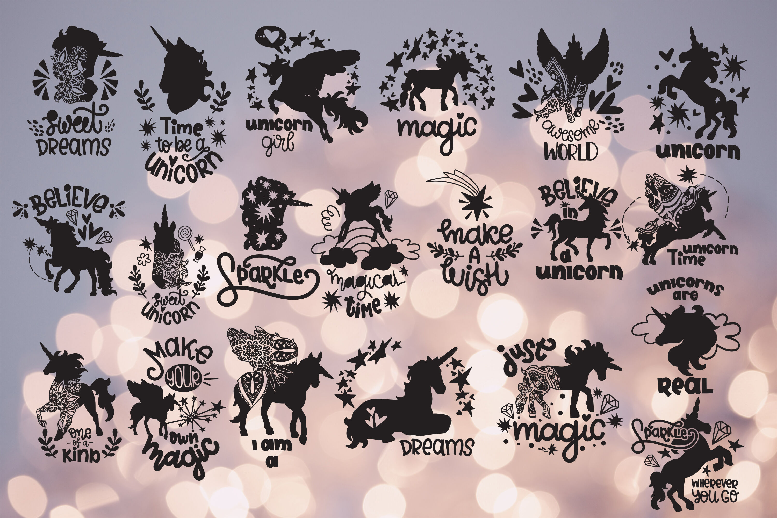 Unicorn Svg Bundle Hand Lettered Quotes Lettering Magic By Svg