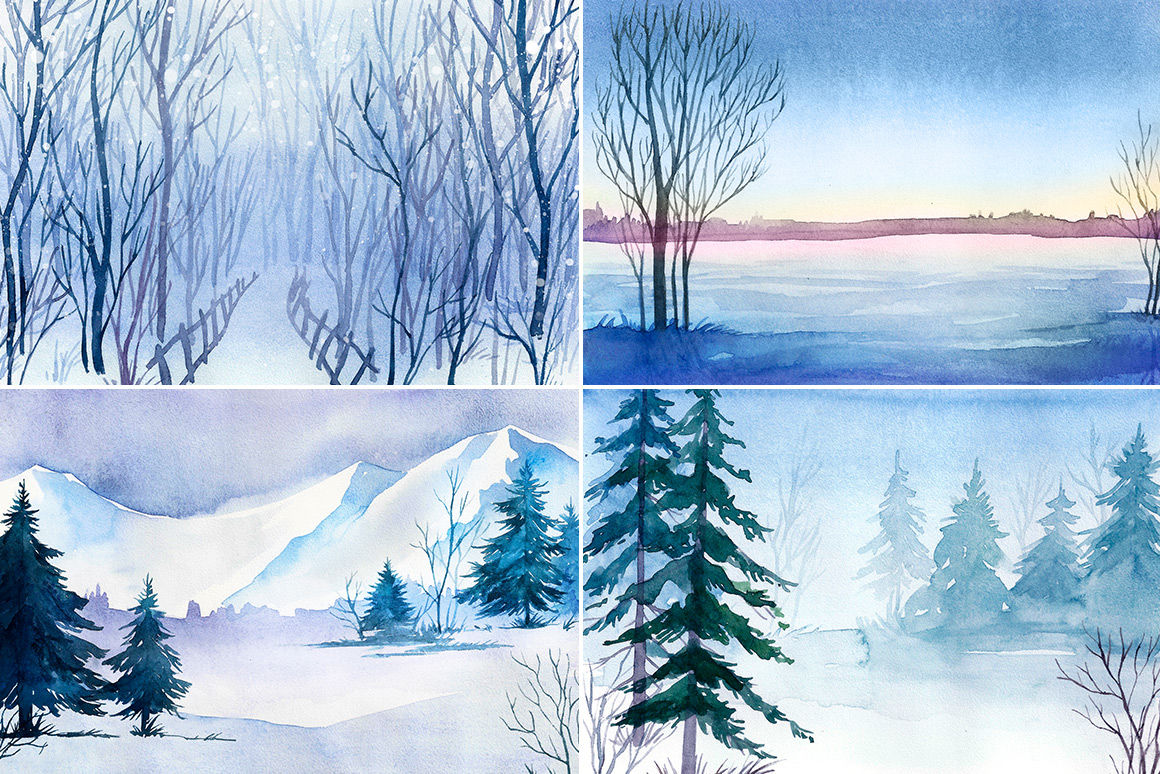 Winter Landscapes Watercolor By Alex Green Thehungryjpeg Com