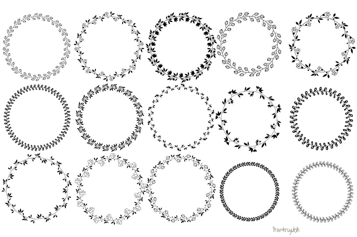 Black Floral Wreaths Clipart Leaf Circle Frame Round Borders