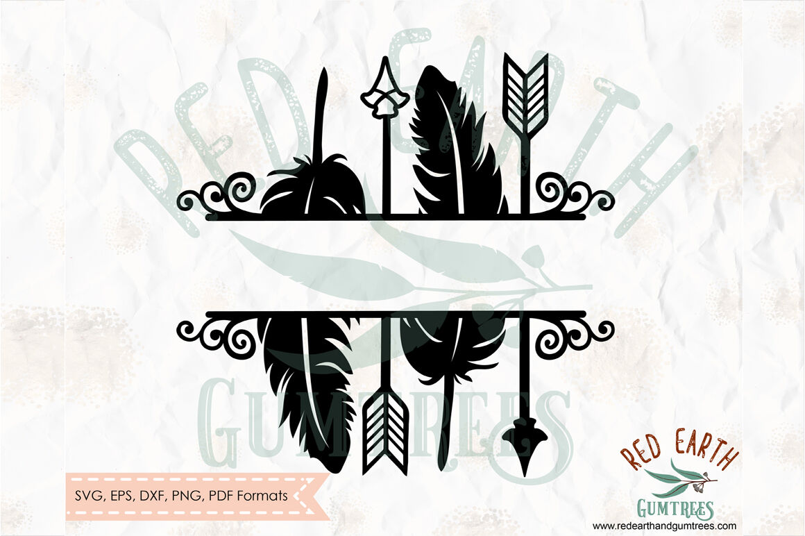 Arrows Split Monogram Frame Svg Png Eps Dxf Pdf By