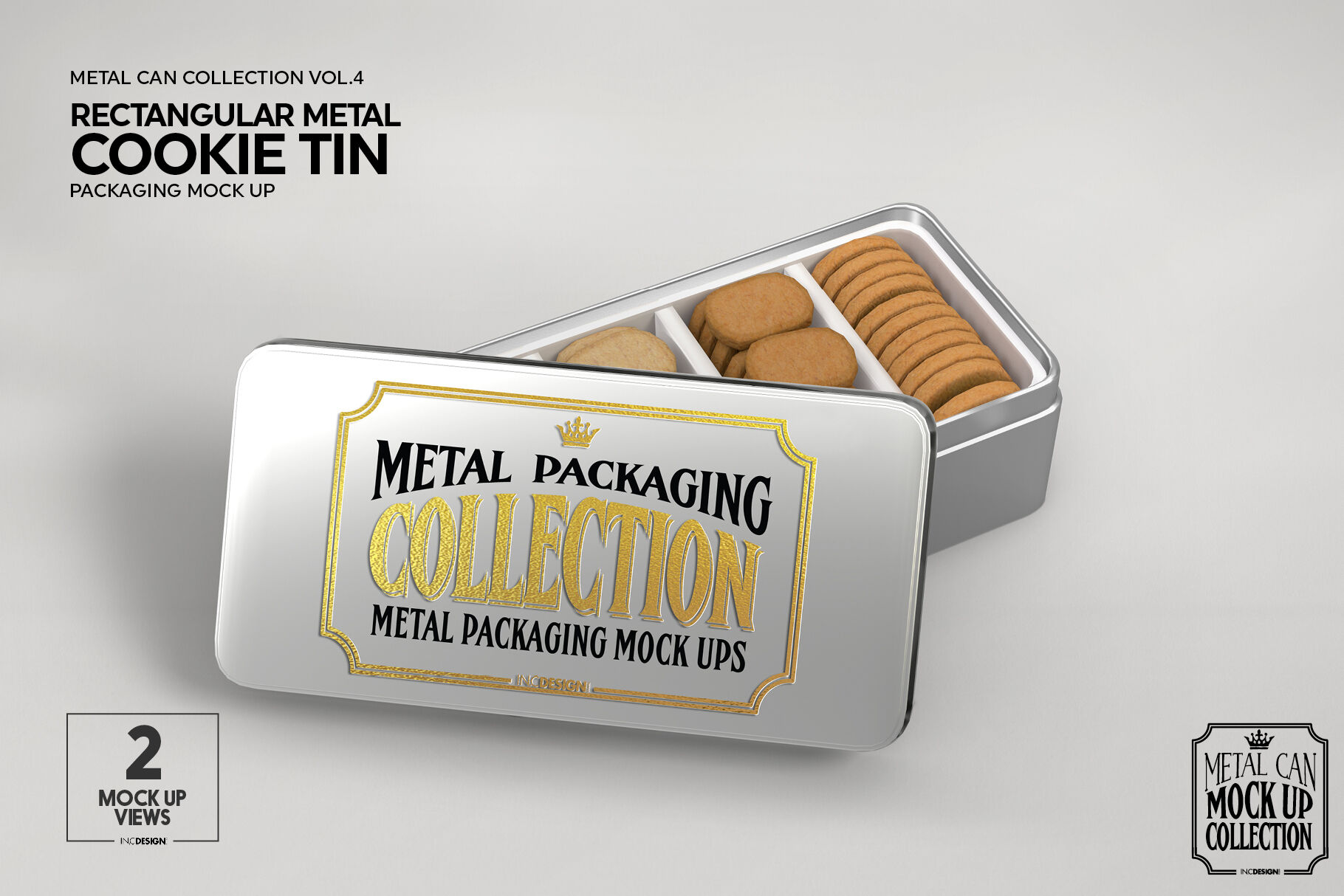 16 Snack Bars Metallic Display Box Mockup Front View