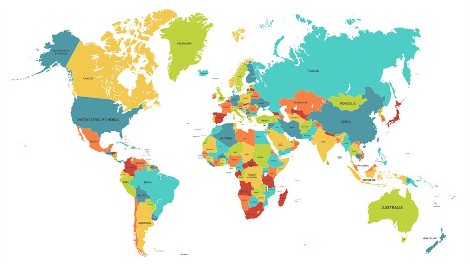 Colored World Map Political Maps Colourful World Countries And