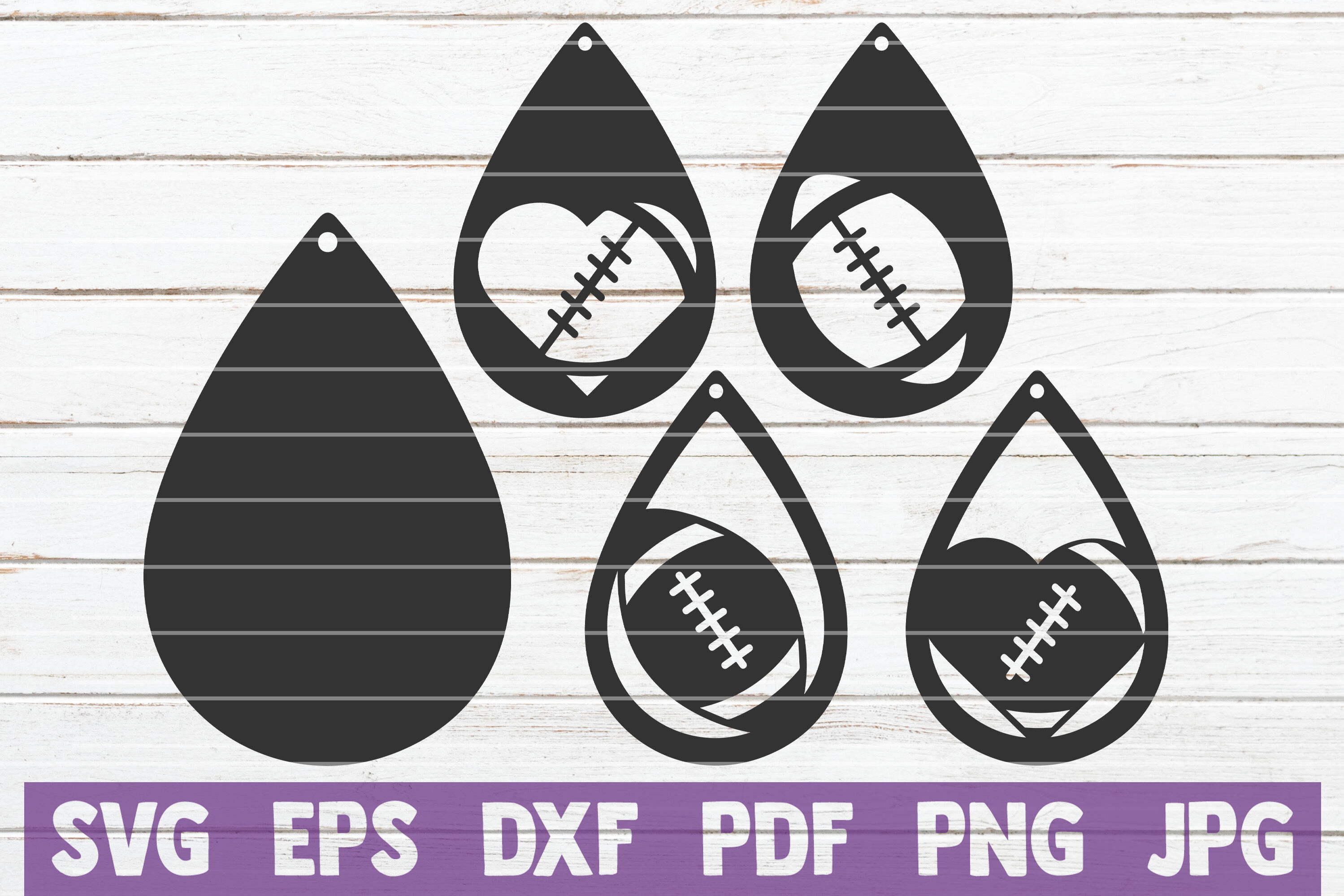 Football Earring Svg Cut File Templates By Mintymarshmallows