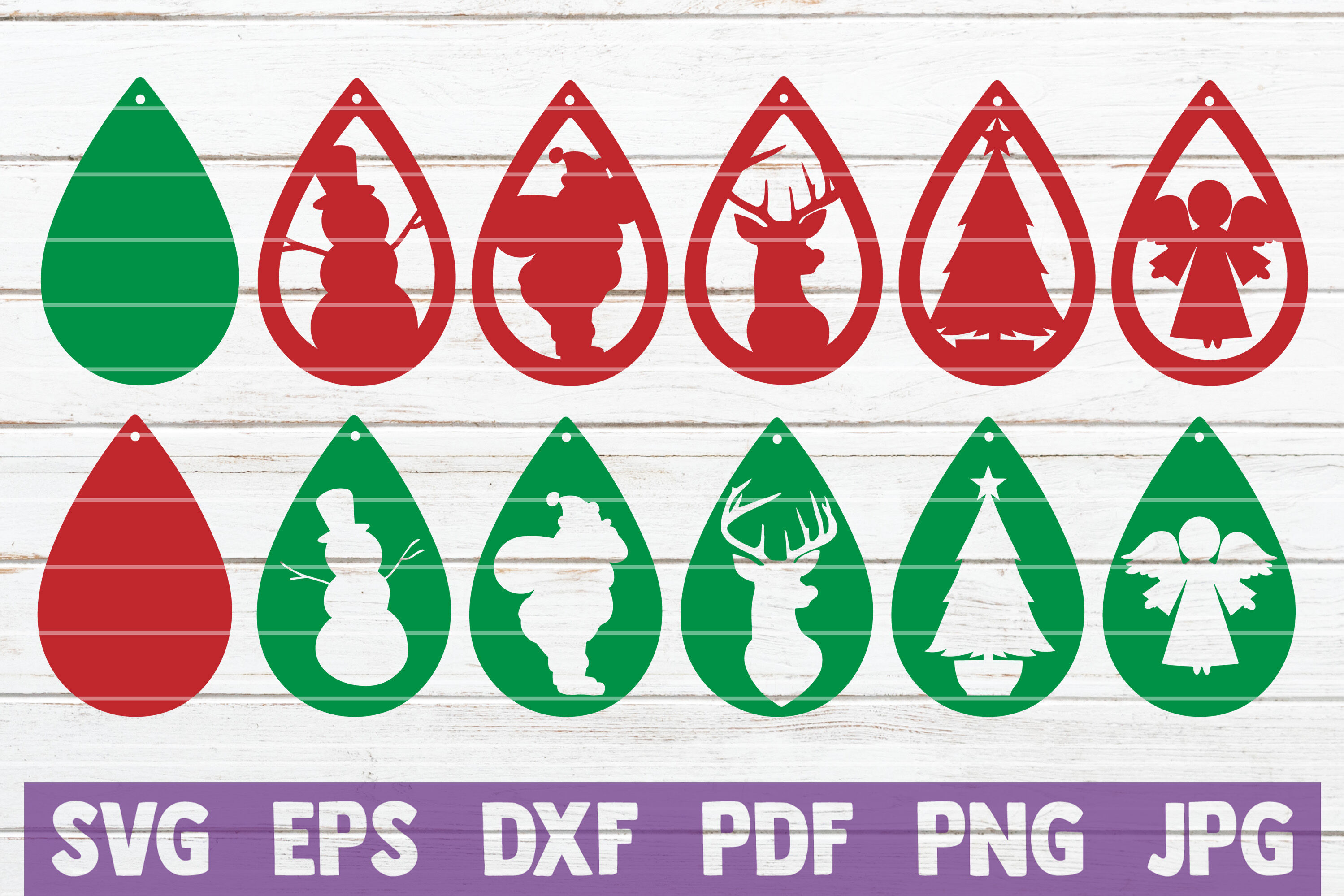Christmas Earrings Svg Cut File Templates By Mintymarshmallows