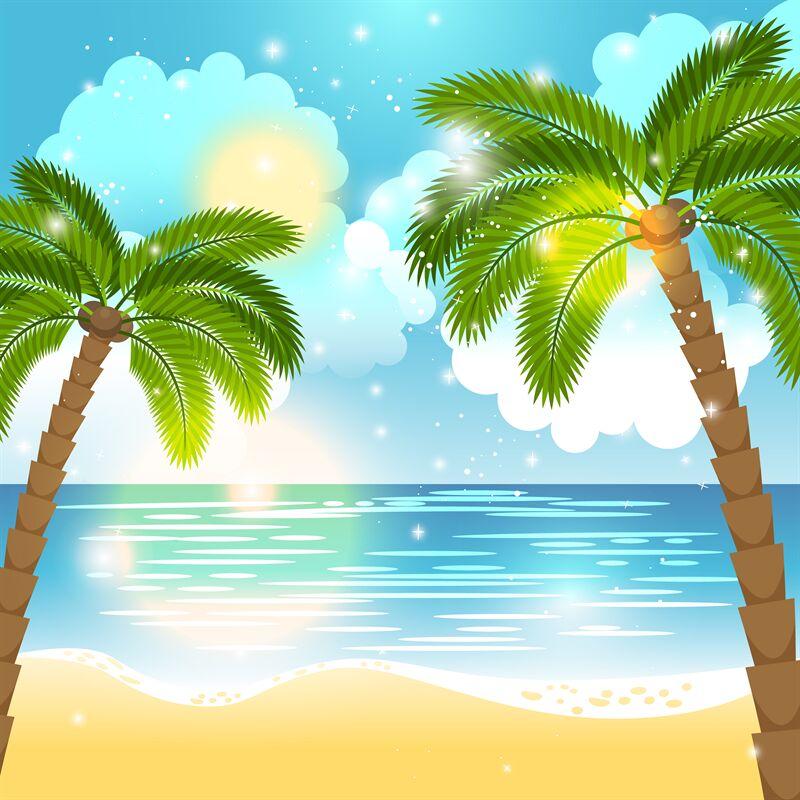 Ocean And Palm Trees Background By Smartstartstocker