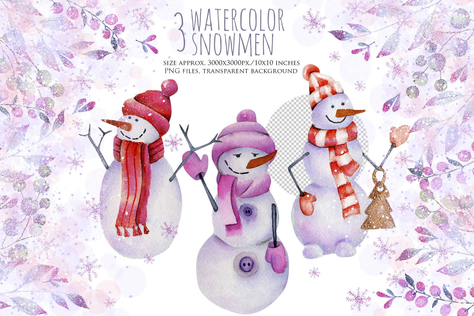 Snow watercolor. Let it clipart by