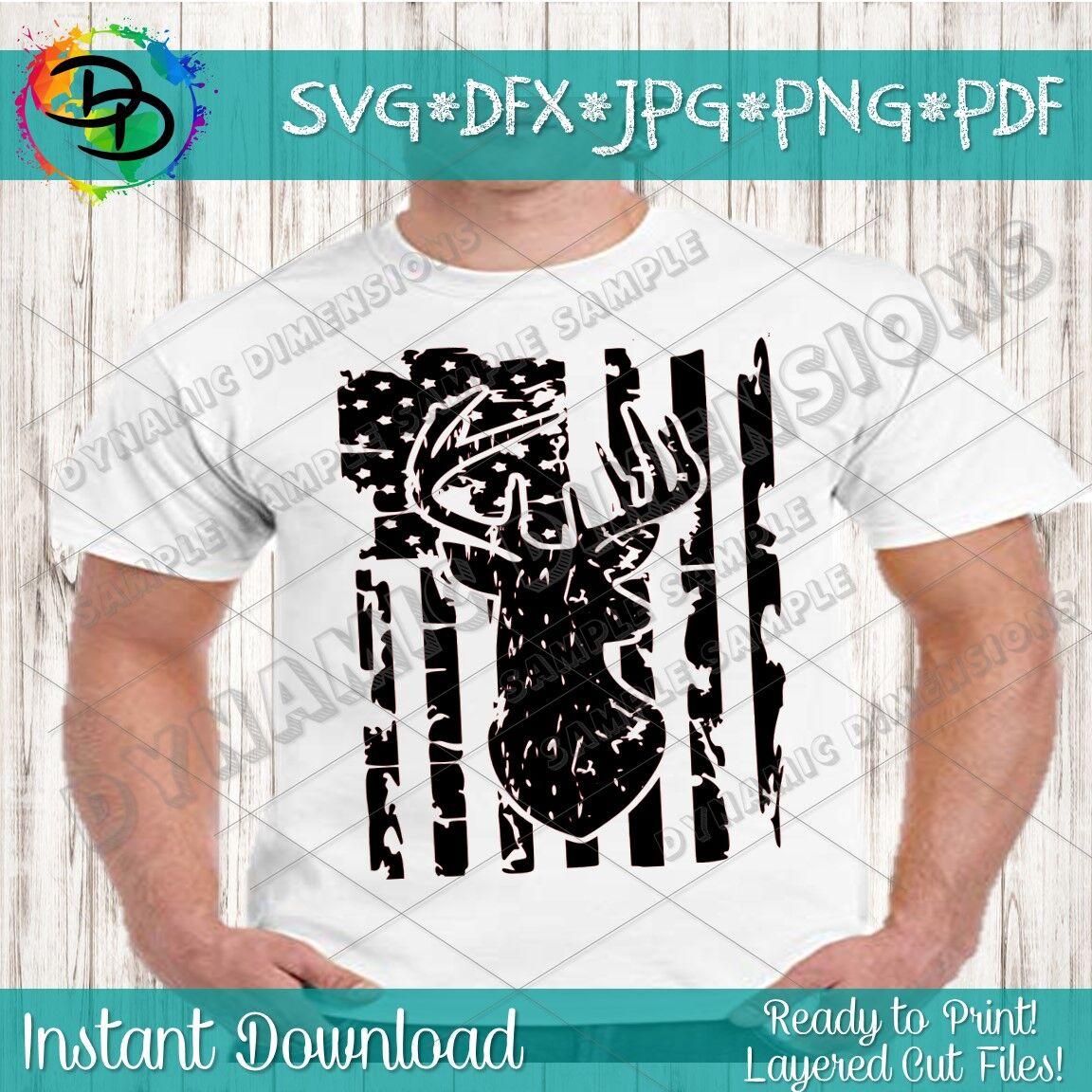 Distressed American Flag Svg Hunting Svg Deer Svg Distressed